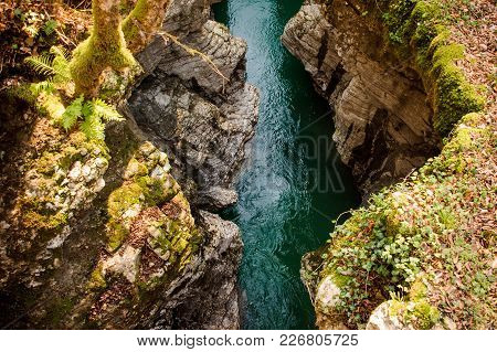 Beautiful Flowing Mountain Waterfall Falling Into The Deep And Cold Blue Lake Surrounded With Trees