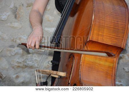 A Stringed Music Instrument (zoom On A Double Bass)