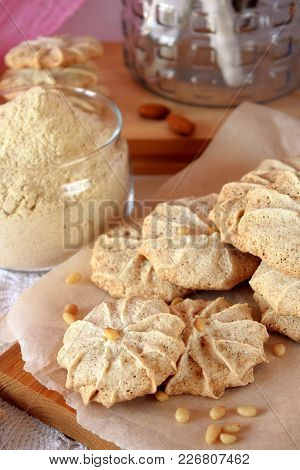 Meringue Cookies With Pine Nuts And Almonds