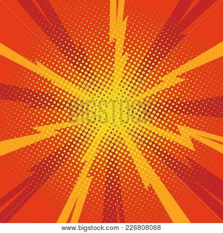 Comic Pop Art Background Lightning Blast Halftone Dots. Cartoon Vector Illustration