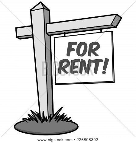 For Rent Illustration - A Vector Cartoon Illustration Of A For Rent Sign.