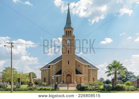 Excelsior, South Africa, February 9, 2018: The Dutch Reformed Church With The Centenary Monument Of