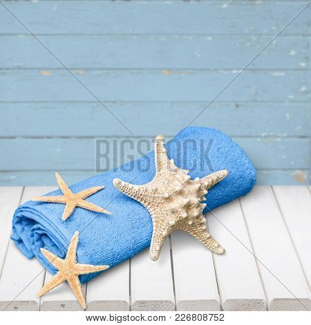Blue Background Wooden Seashell Design Travel Vacations