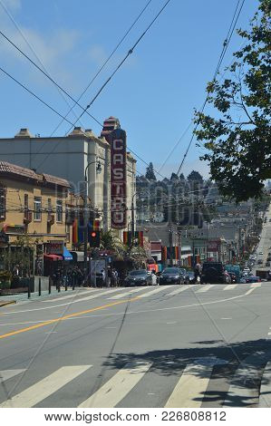 Castro Neighborhood On The Left We Can See Its Well-known Theater Is The Gay Neighborhood Of San Fra