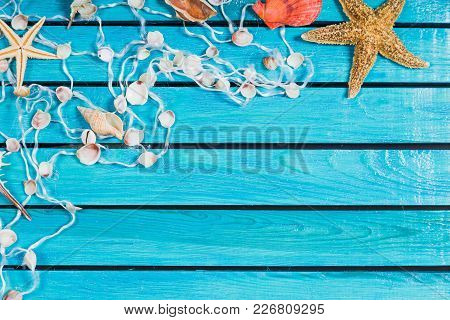Blue Background Wooden Seashell Red Design Travel
