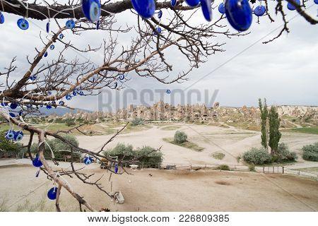 Famous Evil Eye Tree Scenery View In Cappadocia, Goreme, Turkey