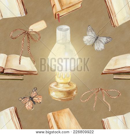 Seamless Background Pattern With Kerosene Lamp, Butterflies And Books. Watercolor Hand Drawn Illustr