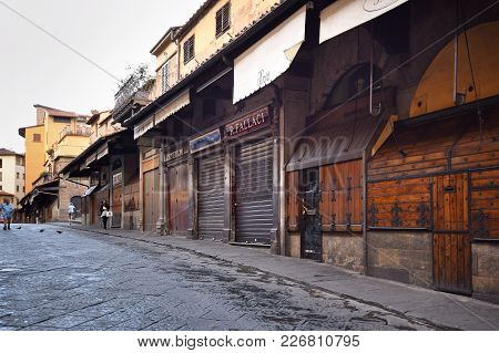 Florence, Italy - September 17, 2017:  Early Morning View Of Ponte Vecchio; A Famous Medieval Stone