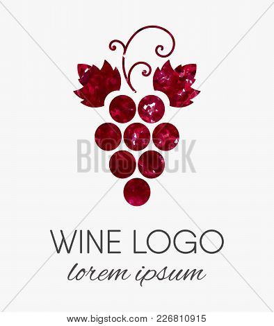 Red Grapes Logo With Watercolor Texture. Wine Or Vine Logotype In Grunge Style. Brand Design Element