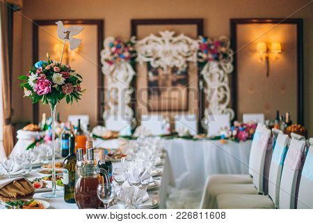 Catering In Restaurant. Wedding Banquet. Wedding Party. Restaurant Event. Banquet, Wedding, Catering