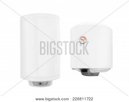 Two Modern  Automatic Electric Water Heater Boiler Isolated On A White Background