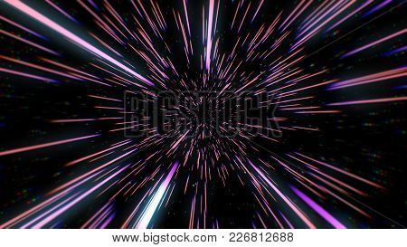 Abstract Retro Color Of Warp Or Hyperspace Motion In Blue Star Trail 3D Illustration
