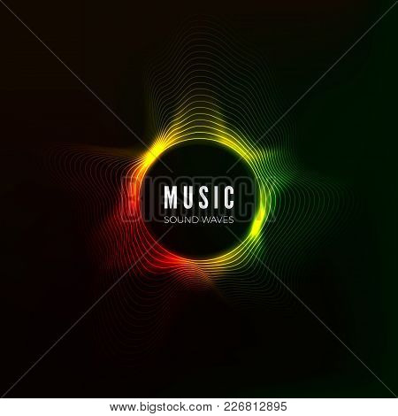Circular Sound Wave Visualization. Abstract Music Background. Color Structure Audio Flow. Vector Ill