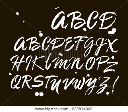 Vector Acrylic Brush Style Hand Drawn Alphabet Font. Calligraphy Alphabet On A Black Background. Ink