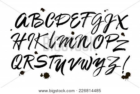 Vector Acrylic Brush Style Hand Drawn Alphabet Font. Calligraphy Alphabet On A White Background. Ink