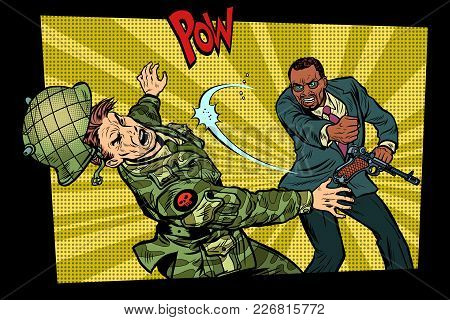Civil Beats Invader Military Soldier. Struggle For Peace. Protest Against The Occupiers. Pop Art Ret