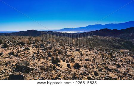 Rugged Landscape Of The Mecca Hills Wilderness Trails Overlooking The Salton Sea