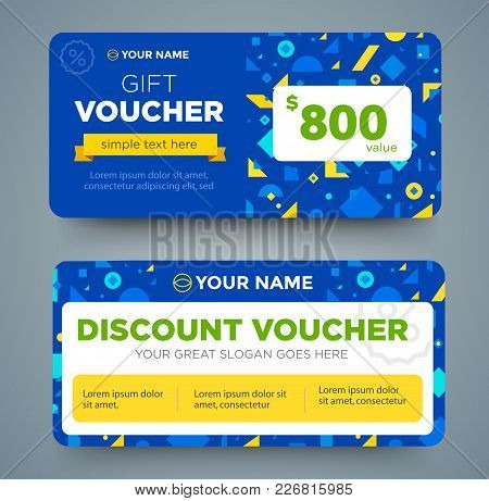 Discount Voucher Template With Colorful Pattern, Cute Gift Voucher Certificate Coupon Design Templat