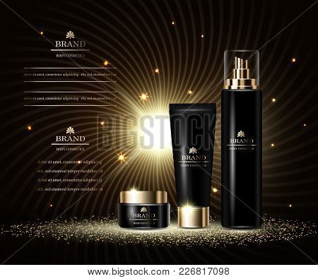 Cosmetics Luxury Beauty Series, Ads Of Premium Body Cream And Spray For Skin Care. Template For Desi