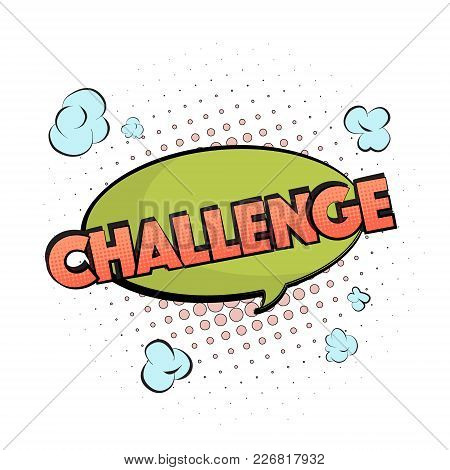 Vector Competition Sign. Challenge Motivation Bubble In Pastel Green Orange Colors. Cartoon Comic Cl