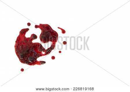 Berry Jam Splats Isolated On White, Top View