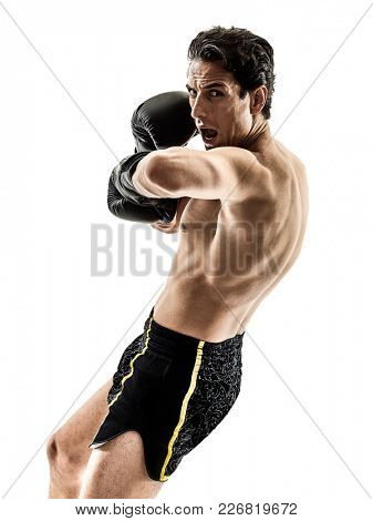 one caucasian Muay Thai kickboxing kickboxer thai boxing man isolated on white background