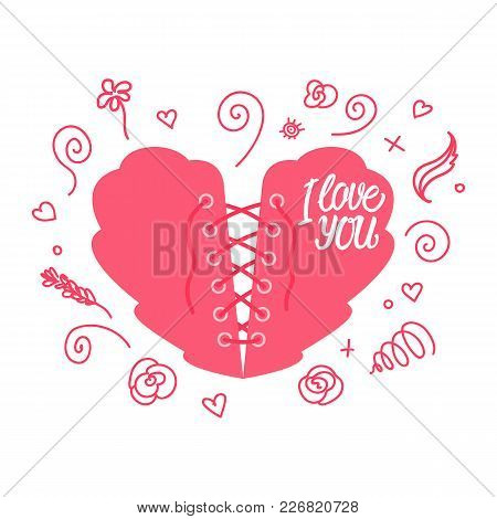 Lacing Heart. Valentine's Day. Heart With Lacing As A Corset. Vector Illustration Isolated On White