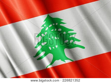 Lebanon Textured Proud Country Waving Flag Close