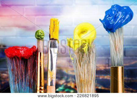 Row Art Paint Artistic Artist Brushes Green