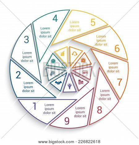 Template For Info-grapchics  9 Cyclic Processes, Step By Step, Colorful  Lines, Pie Chart With Shado