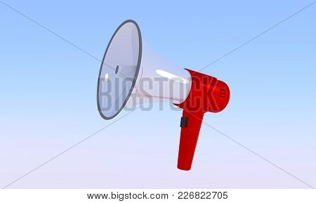 Megaphone. Red With A White Bullhorn. Loudspeaker Isolated On A Blue Sky Background. Vector Illustra