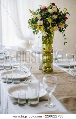 Wedding Reception In Wooden Style And With Flowers