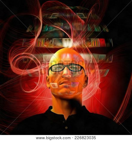 Futuristic digital painting. Bald man in glasses with hologram screens. 3D rendering