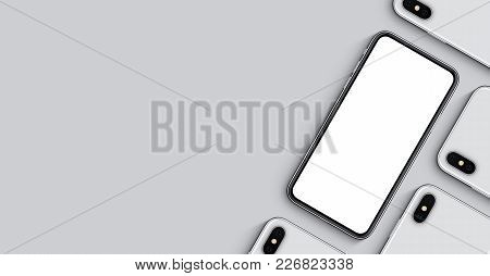 Smartphone like iPhone X mockup banner with copy space. Smartphones mockup top view flat lay. New frameless smartphone back side and front side mockup. 3D illustration.