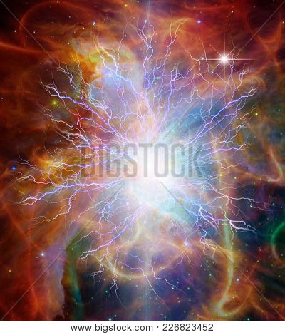 Vivid colorful universe with lightnings. 3D rendering