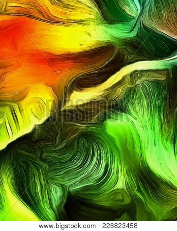 Fluid lines of color movement. Green and yellow colors mostly. 3D rendering.