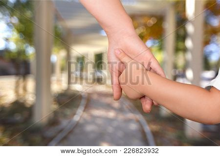 Child Hands Grandmother Holding Hands Girl Adult People
