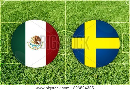 Illustration for Football match Mexico vs Sweden