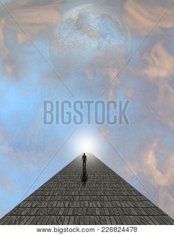 Man atop stone in clouds. 3D rendering