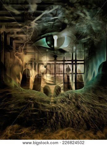 Complex surreal painting. Giant eye with keyhole. 3D rendering