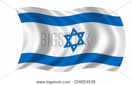 Waving Israeli Flag In The Colors Blue And White