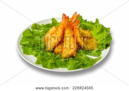 Deep-fried Shrimp With Lettuce Leaves. White Background