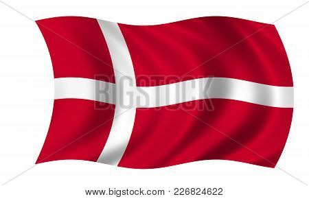 Waving Danish Flag In The Colors Red And White