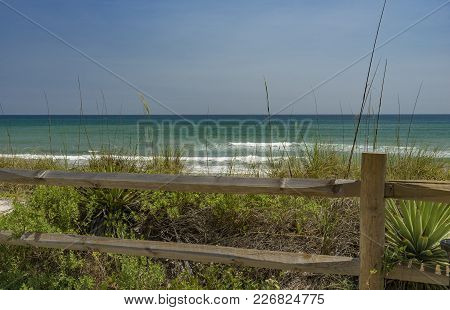 The Blue-green Atlantic Waters Off The Shore Of Melbourne Beach, Florida