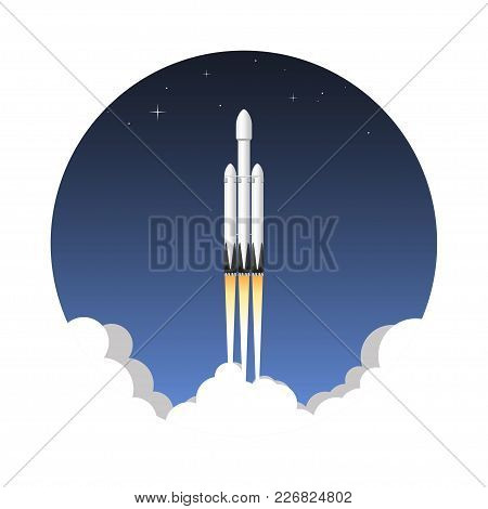 Usa Space Rocket Carrier 2018 Heavy. Icon Vector Illustration