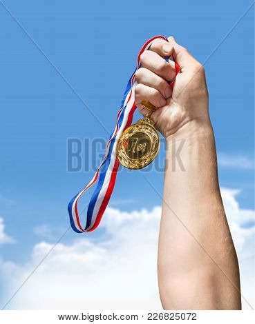 Ribbon Gold Medal Game Sport Competition White