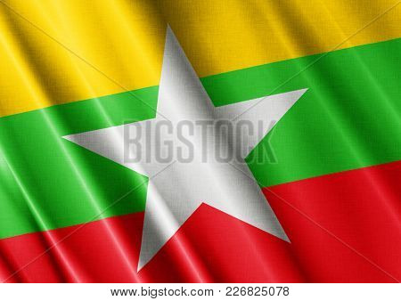 Myanmar Textured Proud Country Waving Flag Close