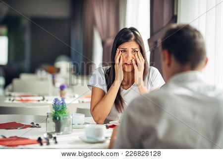 Shocked Woman Handling Bad News,not Believing Negative Event.stressed Crying Female Having Relations