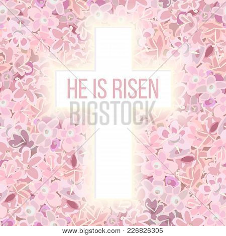 He Is Risen. Bible Quote, Holy Cross On Pink Flower Background Carnation, Crane's-bill Or Meadow Ger