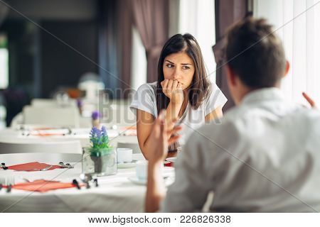 Worried Woman Doubting,having Relationship Problems.making A Decision.wandering,bored,not Listening